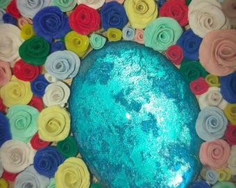 Notebook multicolor roses A5 with blue cabochon