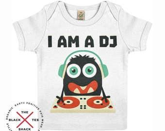 DJ Organic Baby T-shirt - Eco baby clothing - Vegan Baby - Monster T-shirt - Kids T-shirt - Cartoon Tee