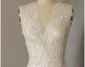 2x LARGE mirrored Lace Trim - PAIR = 2 yards, Flower Lace Trim, Wedding dress lace, Flower lace apliqué, Sequin flower lace trim (CLT75051)