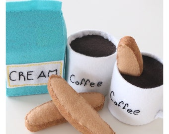 Felt Coffee - Felt Biscotti - Felt Pretend Food - Felt Food - Play Food - Pretend Food - Pretend Coffee - Fake Food - Play Coffee Set