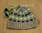 I Heart the Seahawks Messy Bun Crochet Beanie Hat