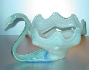Murano Italian Art Glass Swan Dish, Blue Swirled, Bowl, Basket