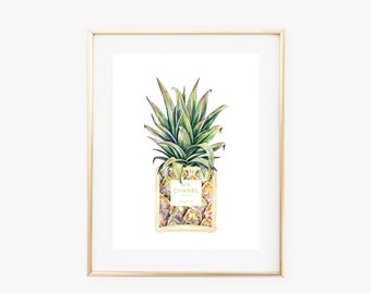 Chanel Pineapple Bottle Art Print - Instant Digital Download