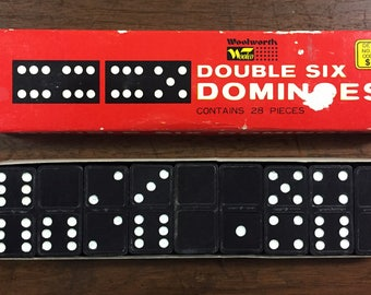 1960's Complete 28 Wooden Double Six Dominoes by Jamar No 8261