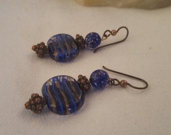ON SALE, Vintage Earrings, Glass Earrings, Glass marble Jewelry, Glass Jewelry, Blue Glass Earrings, Dangle drop Earrings, Flat Marble