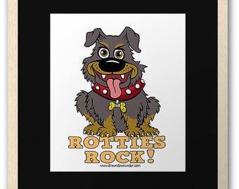 Rotties Rock ! Lovable loyal dogs. A beautiful rottweiler print.