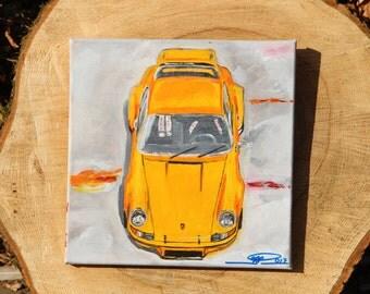 Acrylic Porsche 911 RSR yellow on canvas, original, by the artist. Vintage Porsche, yellow rump,