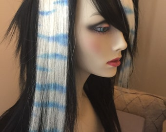 """Pair of 12"""" Turquoise Zebra Print Human Hair Extensions"""