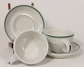 Sterling China East Liverpool Ohio USA Restaurant Ware White with Green Cup and Saucer, 1950s Vintage