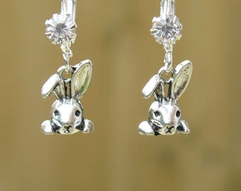 Silver plated Rabbit earrings made with Rhinestone French Hooks in a Matching gift box. Woodland jewellery.