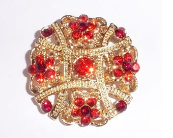 Gold Plated Ruby Red Stones Scarf or Sweater Clip
