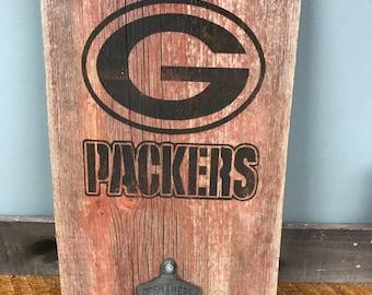 Green Bay Packers Reclaimed Barnwood Bottle Opener