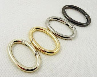 10Pcs Metal Gold Purse Clasp, Oval Spring Ring Clasp, Round Connector Replacement Clasps, Handbag Supply, O Rings, Bag Snap Clasp, Gate Ring