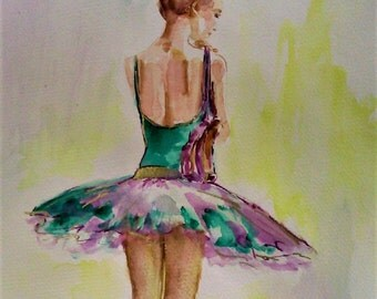 SALE -Original Ballerina painting,watercolor ballerina painting,ballet painting,ballet watercolor,wall decor for baby girls nursery room