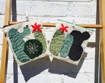 Cactus Garden Handstitched Bags