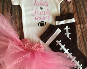 Tutus and touchdowns baby girl outfit