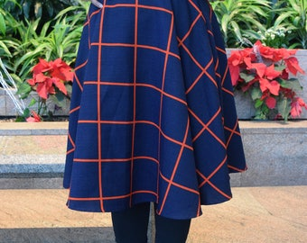 Vintage A line navy and red skirt