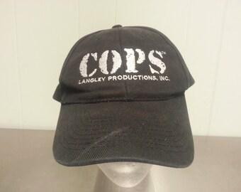 Vintage 90's COPS Langley Productions Black Strapback Dad Hat TV Show Promotional