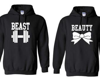Beauty/Beast Bodybuilder Gym Couples Adult Funny Matching Couples Hoodies Valentines Day Gift His And Hers Matching Hoodies