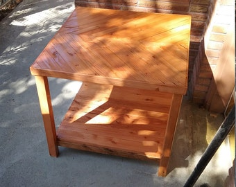 Reclaimed wood end table with self @ 4""