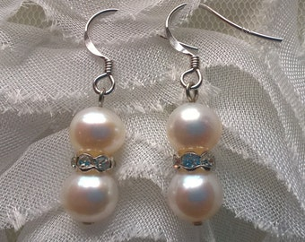 Classic White Cultured Freshwater Pearl Drop Earrings