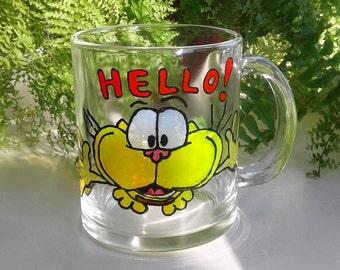 Funny Cat Mug Coffee Mug Hand Painted Coffee Mug Painted Glasses Funny mug Gaturro cat mug yellow cat custom mug kitten mug Cat Cup hello