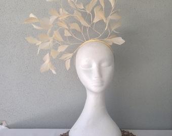 Ladies cream feather headband fascinator