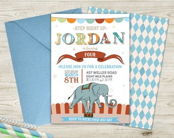 Boys Vintage Circus Invitation