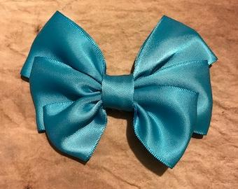 Blue satin bow