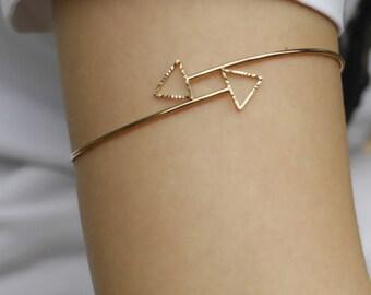 Copper Upper Arm Cuff Bangle Simple Dainty Minimalist | Gold Bangle Upper Arm Bracelet Gold Armlet Gold Arm Band Triangle Geometric Jewelry