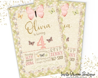Girl  Birthday Garden Customizable Invitation Girl Butterflies Pink Flowers Whimsy