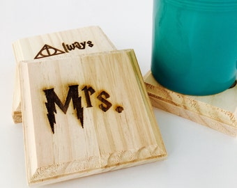 Harry Potter Mr.  and Mrs. Coasters: engraved set of 4 wood coasters - Mr., Mrs.,  Always Deathly Hollows, Harry (Harry Potter Wedding Gift)