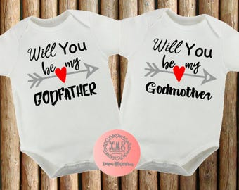 Customised Pregnancy Announcement Baby Bodysuit Onesie // Will you be my GODFATHER / GODMOTHER//