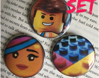 "Lego Pinback Button 1.5"" Button Movie character"