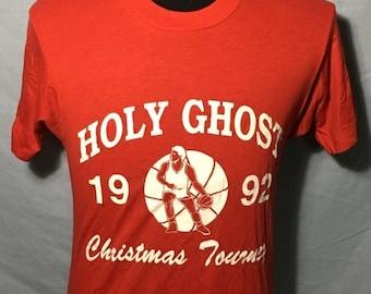 SALE 25% OFF Vintage Holy Ghost 1992 Christmas Tournament 1980's SOFT Screen Stars t-shirt - vintage tees - basketball (Medium)