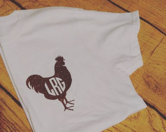 Rooster Monogram T, Glitter Rooster