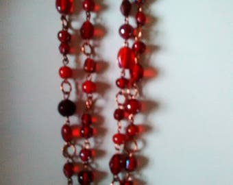 Deep Red Poured Glass Beaded and Copper Necklace