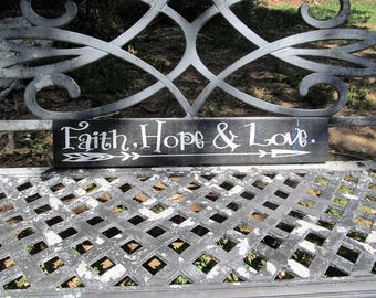 Rustic Wood Sign That saysFaith ,Hope & Love' Slightly Rough Distressed Reclaimed Pine, Great Gift For Anyone!     (HMHTeam)