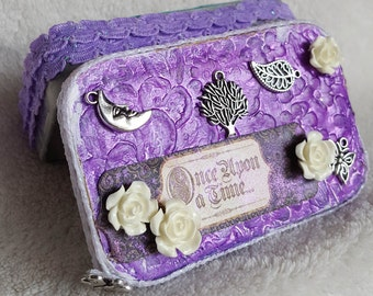 altered altoids tin jewelry box for woman, trinket box, altered tin art, upcycled box, tiny jewelry box, treasure box, keepsake box, gift