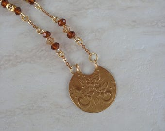 Gold and Plum Vintage Necklace