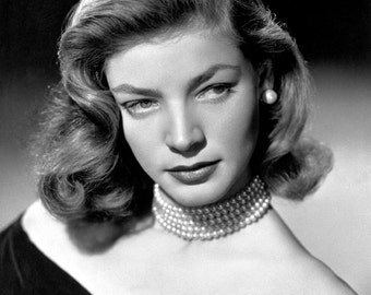 Lauren Bacall Film Actress Glossy Hollywood Black & White Photo Picture Print A4