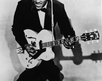 Chuck Berry Singer Guitarist Musician Glossy Rock n Roll Black & White Photo Music Print Picture