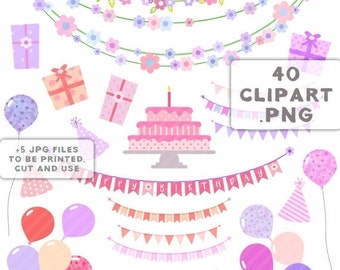 80% Until New Year - Birthday party clipart happy birthday girl Balloons cake banners flowers PNG JPG scrapbooking · printable, instant down