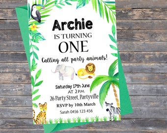 Invitation | 1st Birthday | Jungle Theme| Animals | Girl or Boy | Party Invite | Special Occasion | Celebration | Any Age