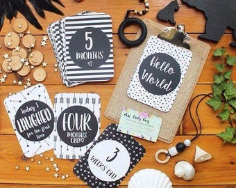 Baby | Milestone Cards | Monochrome | Unisex | 1st Year | Photo Prop | Memories | Baby Shower Gift | Hello World | 26 Card Set