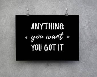 Anything You Want You Got It - Roy Orbison - song lyric. 8x10 & 5x7 Instant Download