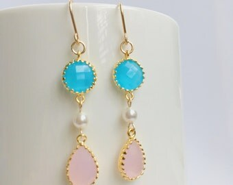 Ice Pink Teardrop Earrings, Bridal Earrings, Ocean Blue Dangle Earrings, Wedding Jewelry, Swarovski Pearl Earrings