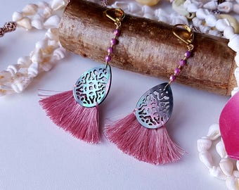 Earrings Pearly ears, pink PomPoms, jewel ethnic and Bohemian chic