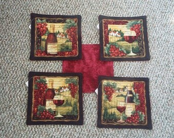Wine Lover Quilted Hot Pads