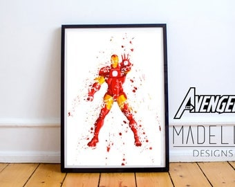 Iron Man Watercolour Splatter, Avengers, Avengers Watercolour, Instant download
